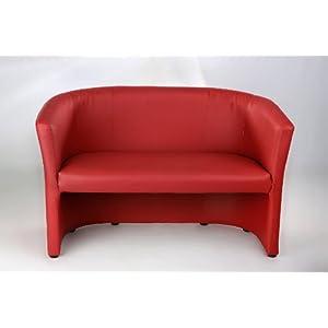 H&S Design Bank 2 sitzer Cocktailsessel Sessel Clubsessel Loungesessel Club Möbel Bürosessel Praxismöbel rot Neu