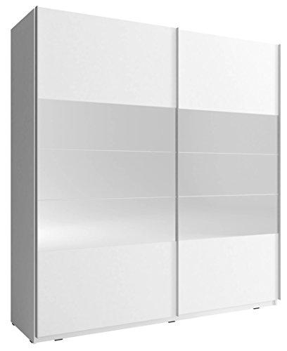 Kleiderschrank mit Spiegel Schrank Gaderobe Schiebtüren Nele 1 (Weiß, 200 cm)