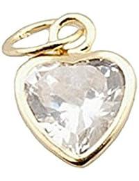 Colgante oro 18k circonita corazón . Largo (mm.): 5. Ancho (mm.): 5. Longitud asas (mm.): 6. Peso (gr.): 0,2