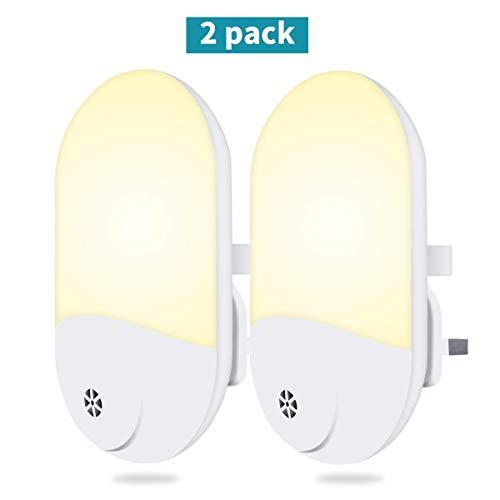 LED Nachtlicht, Plug-in Nachtlicht automatische Dämmerung Fotozelle Sensor Wandleuchten 2 Pack, Nachtlampe Beleuchtung für Kinder, Schlafzimmer, Badezimmer, Küche, Flur, Treppe - Dämmerung Fotozelle