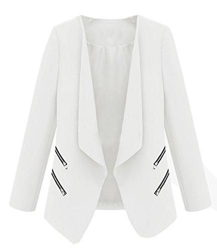 La Vogue-Giacca da Donna Risvolto Collo Blazer Slim con Cerniera in Misti Bianco