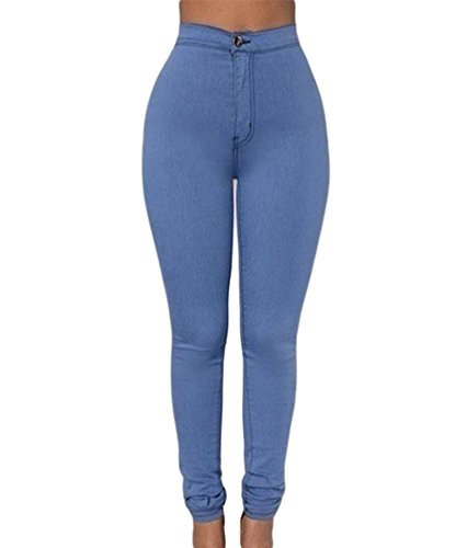 Zkoo donna a vita alta leggings elastico skinny jeans pantaloni in denim lunghi matita pantaloni azzurro