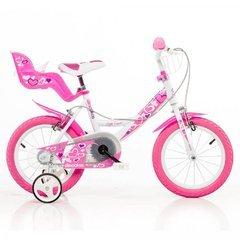 Kinderfahrrad Mädchen Dino 16 Zoll mit Vorradbremse und Rücktrittbremse am Lenker Rosa Weiss (Rücktrittbremse Fahrrad)