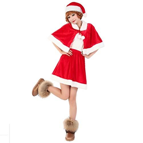 YC DOLL Ms. Sexy Kleid, Weihnachts-Halloween-Kostüm Cosplay-Set Von, Weihnachten Ultra SAMT Erwachsenen Santa Claus Kostüm, Dicken Plüsch-Stoff Weihnachts Kleidung Set Von 3, Hut, Schal, Rock