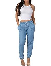 Sylar Pantalones Para Mujer Talla Grande Invierno Moda Color Sólido Estirar  Los Pantalones Casuales Jeans Simples Cintura Alta Slim Fit… 19a57b42868a
