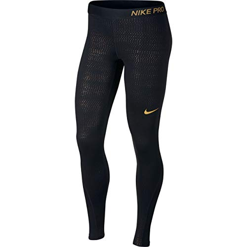 Nike MTLC Dots Printed Tight Damen, Black/Metallic Gold, XS - Black Dot Legging