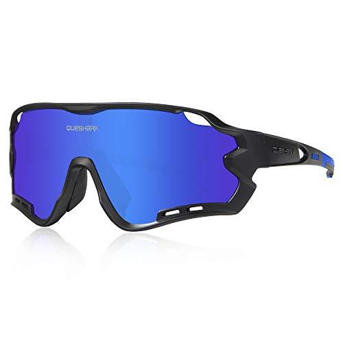 Queshark Gafas de Ciclismo para Hombre Mujer Bicicleta de Carretera 1 Lente Polarizada 3 HD UV400 Lente...