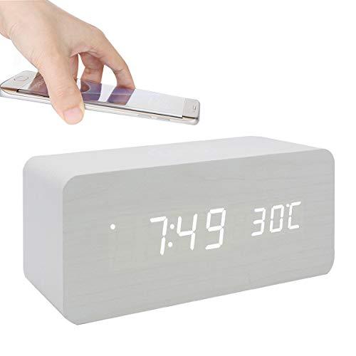 GANGHENGYU Elektronische LED Digitale hölzerne Uhr Handy Drahtlose Ladestation Multifunktions Hause Desktop-Reisen Wecker (Weißes Holz Weißes Licht)