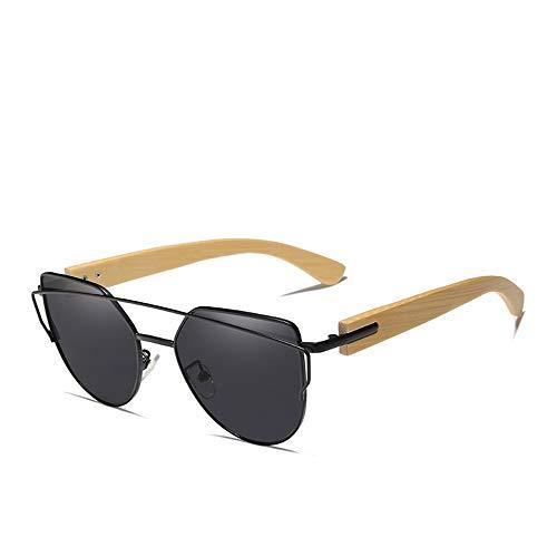 JU DA Sonnenbrillen Bambus Cat Eye Sonnenbrille Polarisierte Metall Rahmen Holz Gläser Frauen Luxus Sonnenbrille Mit Holz Fall schwarzer Bambus