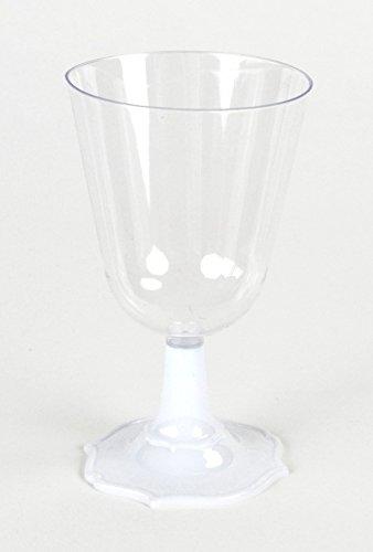 JMG S.R.L Romantische Weinkelche 130ml klar mit Fuß in weiß 6 Stück