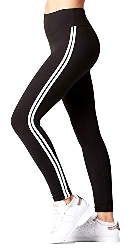 INFISPACE Women's Blended White Striped Double Line Cropped High Waisted Jeggings for Yoga, Gym, Aerobics and Sports Wear (SHAD33-1151, Black, Free Size)