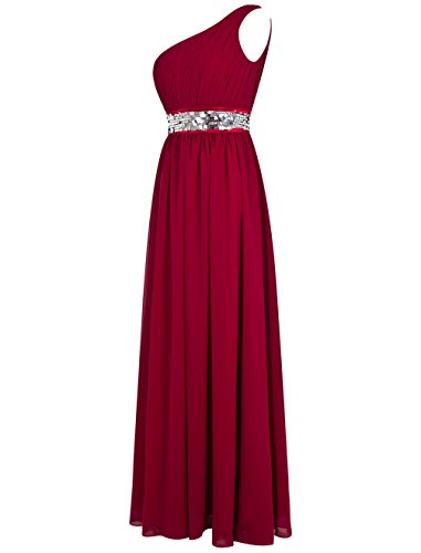 Bbonlinedress Robe de cérémonie Robe de demoiselle d'honneur une épaule avec paillettes longueur ras du sol Rose