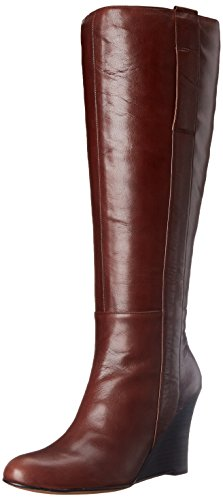 Nine West Oran Wide Calf Cuir Botte Dark Brown