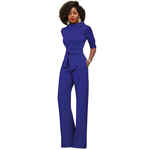Damen Elegante Jumpsuit Lang Weites Bein Overalls Hoher Taille Spielanzug  mit Gurt Halbe Hülse Business Büro b6f2512616