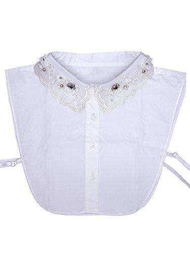 eBoot Falso Colletto Mezzo della Camicia Camicetta Collare Staccabile con Scollatura Floreale e Strass per Donne Ragazze, Bianco