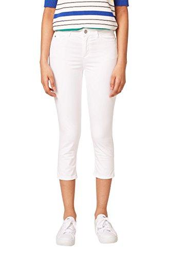 ESPRIT Damen Hose 038EE1B013, Weiß (White 100), - Weiße Capri-jeans