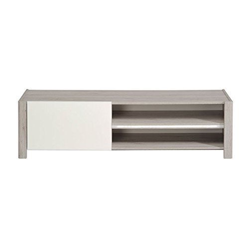 Meuble TV Gris/Blanc brillant à Led - LEO - L 150 x l 42 x H 41 - NEUF