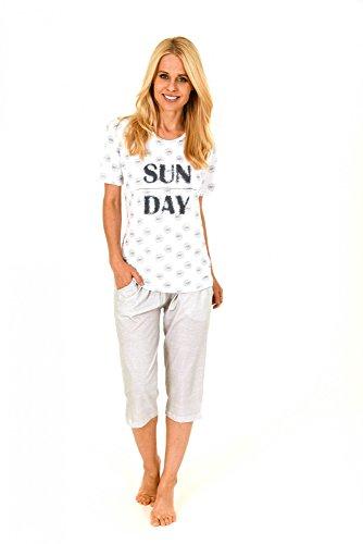 Lässiger Damen Capri Pyjama kurzarm - auch in Übergrössen bis Gr. 60/62 - 204 90 879 Weiß