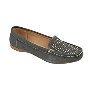 GladRags Ladies Womens Loafer Shoes Suede Leather Driving Comfortable Flats Summer Deck Size UK 3 4 5 6 7 8 (6 UK, Grey Stud)