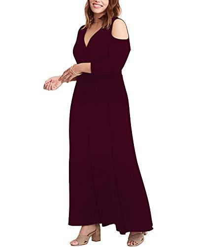 ABYOXI Damen Plus Größen 3/4 Ärmel Trägerloses Reizvolles Festes Trägerlose Schulter V Ausschnitt Lang Kleid Abendkleid Große Größen Long Sleeve Wine Red 3XL