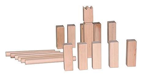 Woodyland Wikingerspiel / Kubb aus massivem Holz. 21 teilig. Praktisch für zu Hause und Unterwegs mit