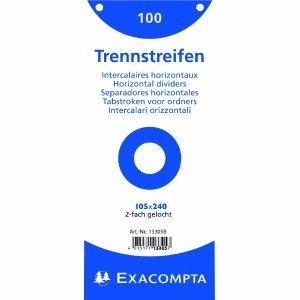 Exacompta 13305B Trennstreifen (Manila-Karton, 105x240 mm) 100er Pack weiß