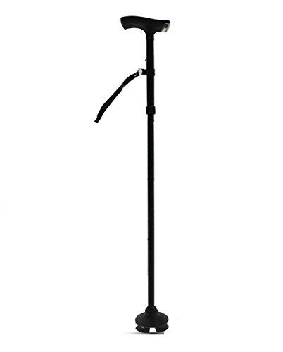 Baisde Ältere Krücke Aluminiumlegierung LED-Lampe Rutschfeste Vier Füße Sitz Falten Portable Alte Mann Cane