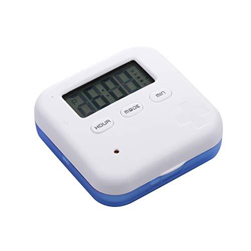 Healifty Organizador de Píldora Digital Dispensador de Pastillas Automático Electronic Organizador de Medicamento con Recordatorios de Alarma Azul