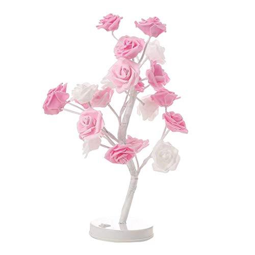 Rosen Lampe (perfk LED Lichterbaum Rosenbaum Lampe Rosen Nachttischlampe Tischleuchte Stimmungsleuchte für Kinderzimmer Schlafzimmer Wohnzimmer - Rosa)