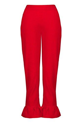 Femmes rouge Tall Mila Pantalon Ajusté Et Ourlé De Volant Rouge