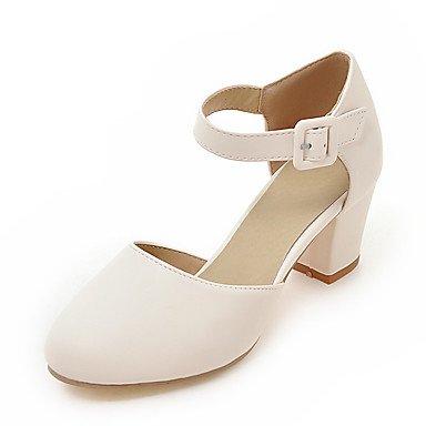 LvYuan Sandali-Matrimonio Ufficio e lavoro Formale-D'Orsay-Quadrato-Finta pelle-Blu Rosa Bianco Beige White