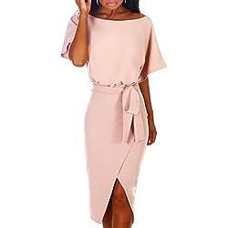 Ajpguot Verano Mujer Sexy Hendidura Midi Vestidos Color Sólido Vestido de Cadera Cuello Elegante Bodycon Vestidos de Fiesta Redondo Manga Corta Vestido con Cinturón (XL, 101039 Rosa Claro)