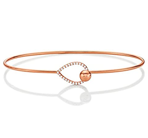 Diamond Treats Elegant Rose Gold Bangle, 18K Rose Gold Plated 925 STERLING SILVER set with AAA Grade White Cubic Zirconia. Openable One Size Silver Cuff Bangle. The Perfect Gift for