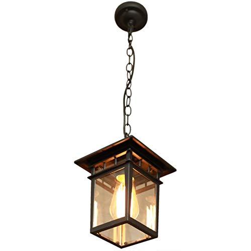 Pearl of the palm Außen Kronleuchter, wasserdichte Decke hängendes Licht, Hänge abwärts Traditionelle Außenleuchte mit LED Edison Glühbirne enthält für E27 Dekoration Beleuchtungskörper,Schwarz -