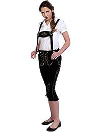 Almwerk Damen Trachten Lederhose Kniebund Modell Hanna in schwarz und Hellbraun