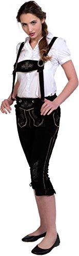 Almwerk Damen Trachten Lederhose Kniebund Modell Hanna, Farbe:Schwarz, Größe:44