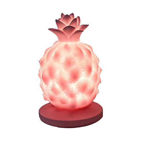 Lampe De Chevet Chambre De Charge USB Charge Ananas Nuit Enfants Led Fruit Tactile Silicone Pat Lumière (Couleur : Rose)