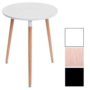 CLP Retro-Design Küchentisch Amalie mit 3 Holzbeinen I I rund Ø 60 cm I Tischhöhe 75 cm Weiß, Natura
