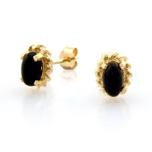 9ct oro orecchini a perno. Corda bordo e artiglio Set Nero Onice. Altezza 6,5mm larghezza 5,3mm. Scatola regalo.