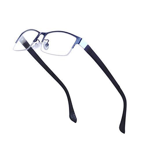 Joxigo occhiali da vista per uomo mezzo rettangolari montatura in metallo lenti trasparenti senza ricetta con custodia