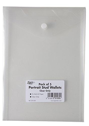 5 x 25 x, colore: trasparente a pressione, formato A5, in plastica porta cartelle portadocumenti, con buste