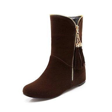 RTRY Scarpe donna pelle Nubuck caduta molla Comfort Novità Bootie scarpe tacco a cuneo Punta stivali Mid-Calf Zipper fiocco per Office & US12.5 / EU45 / UK10.5 / CN47