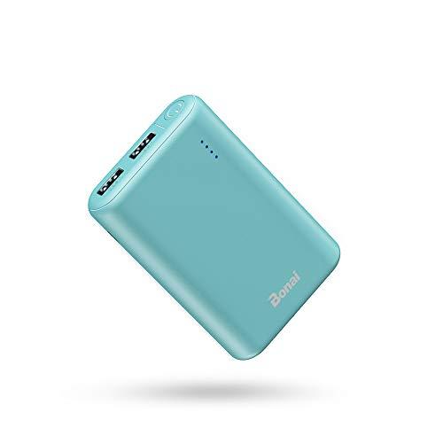 Bonai power bank mini 7800mah [ universale, 2 port /2.1a output, auto] carica batterie portatili cellulare batteria esterna per iphone samsung huawei - verde (con cavo)