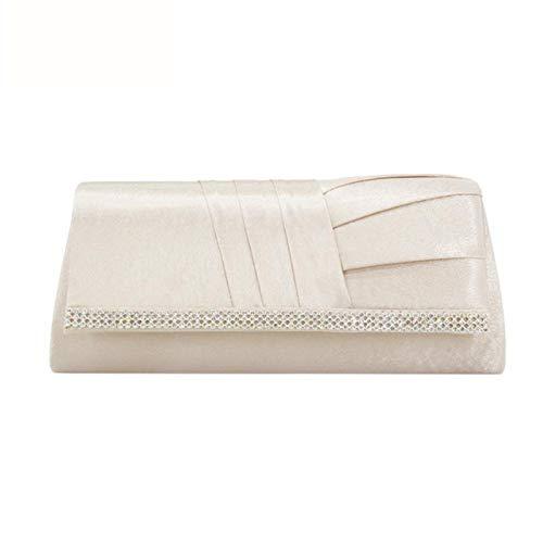 Weiß Abend-handtasche (ZYXB Elegante Seide Strass Abend Handtaschen Für Frauen Weiß Lange Brieftasche Clutch Party Taschen Clutches Kette,apricot)