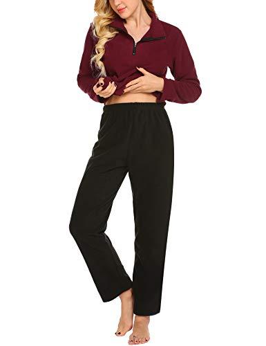 MAXMODA Damen Schlafanzug/Pyjama Sets Hausanzug Nachtwäsche Nachthemd mit Reißverschluss S-XXL - Damen Nachthemden Reißverschluss Für Mit