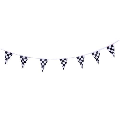 Toyvian Schwarz und Weiß Checker Muster Wimpel Party String Vorhang Rennstrecke Auto Finish Banner Dekorationen Event Supplies für Geburtstag Festivals - Rennen-auto-vorhänge