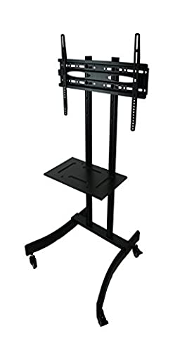 MountRight Black All Steel Trolley TV Display Stand With Bracket and Castors (wheels) For 32 up to 60 Inch LED, LCD & Plasma Screens (large