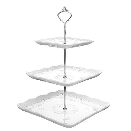 "MALACASA, Series Sweet.Time, 14.5"" Tall 3 Tier Cake Stands (6"" & 8.2"" & 10"") Square Ceramic Dessert Cake Tower Stand, Porcelain Party Food Server Display Holder with Golden Carry Handle, White"