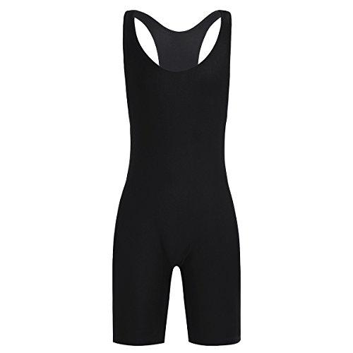 CHICTRY Herren Body Overall Stretch Lycra Unterhemd Boxershorts Unterwäsche Bodysuit T-Shirt Tops Gymnastikanzug M-XL Schwarz Large