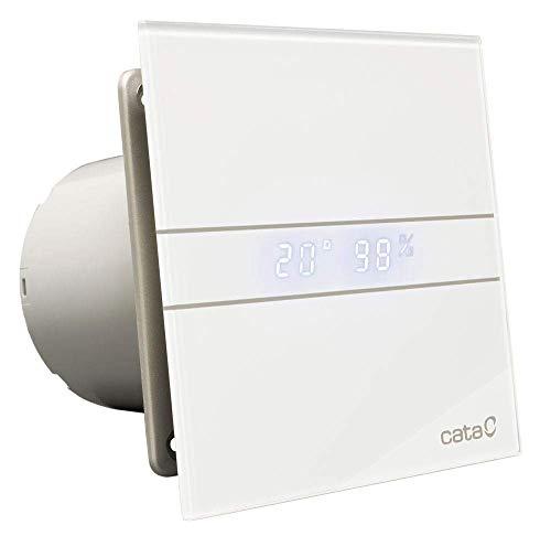 Ventilator Lüfter Badlüfter CATA E-100 GTH Timer / Nachlauf / Hygro / Feuchtesteuerung Feuchtesensor LED - Display Glasfront stark 115 m³/h / sehr leise 31 dB / energiesparend 8W / Kugellager / 2 Stufen / inkl. Dauerlauf